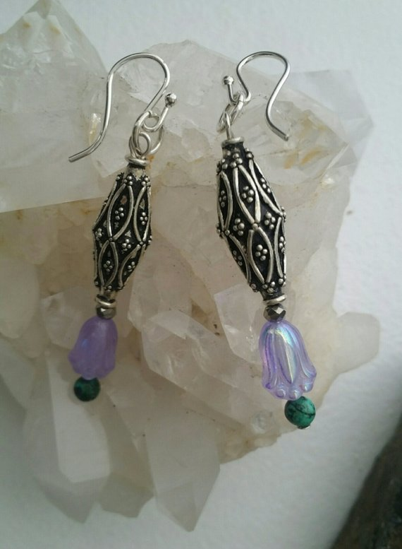 Carved large sterling bead, lavender iridescent glass bead, turquoise bead, French wires