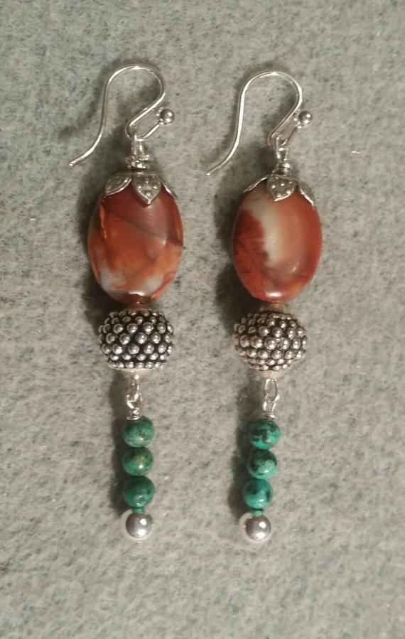 Orange jasper, sterling beads, chrysocolla bead drops on French sterling wires