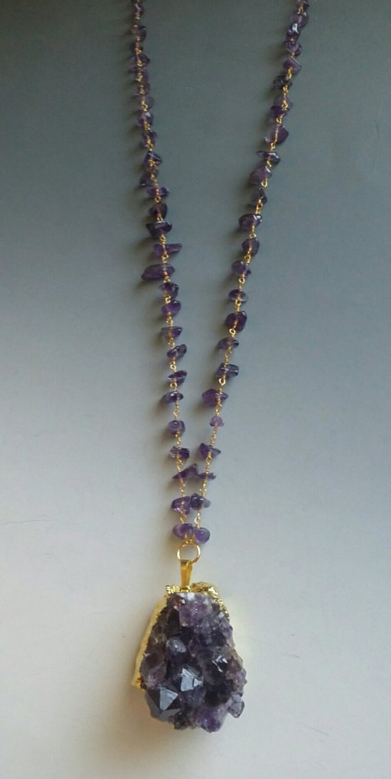 Large Amethyst chunk, 24K electroplated rim on amethyst chips and gold plated chain, long