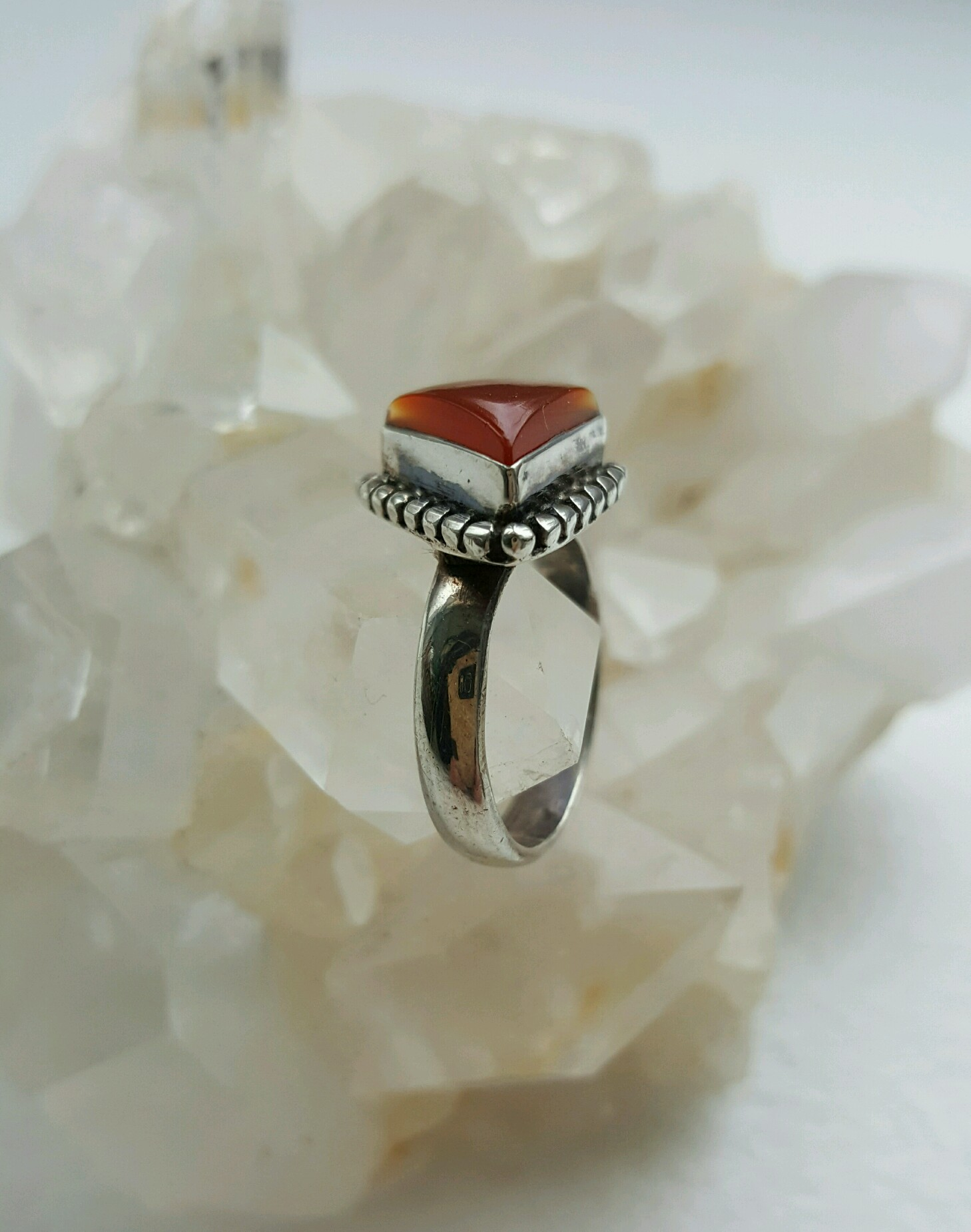 Beautiful triangular Carnelian in sterling raised setting, pinky ring, size 5