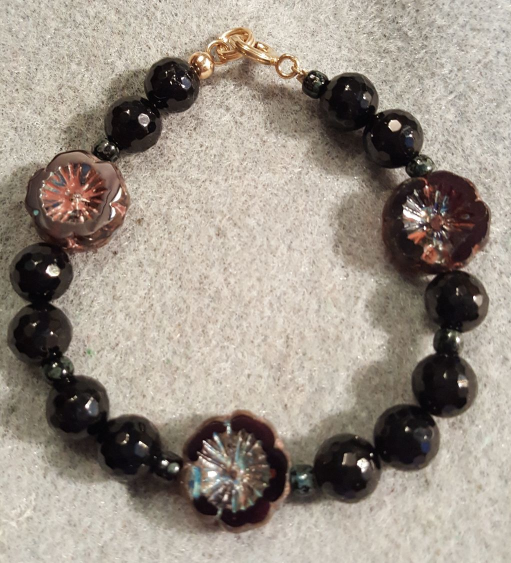 Black Tourmaline and Vintage Glass