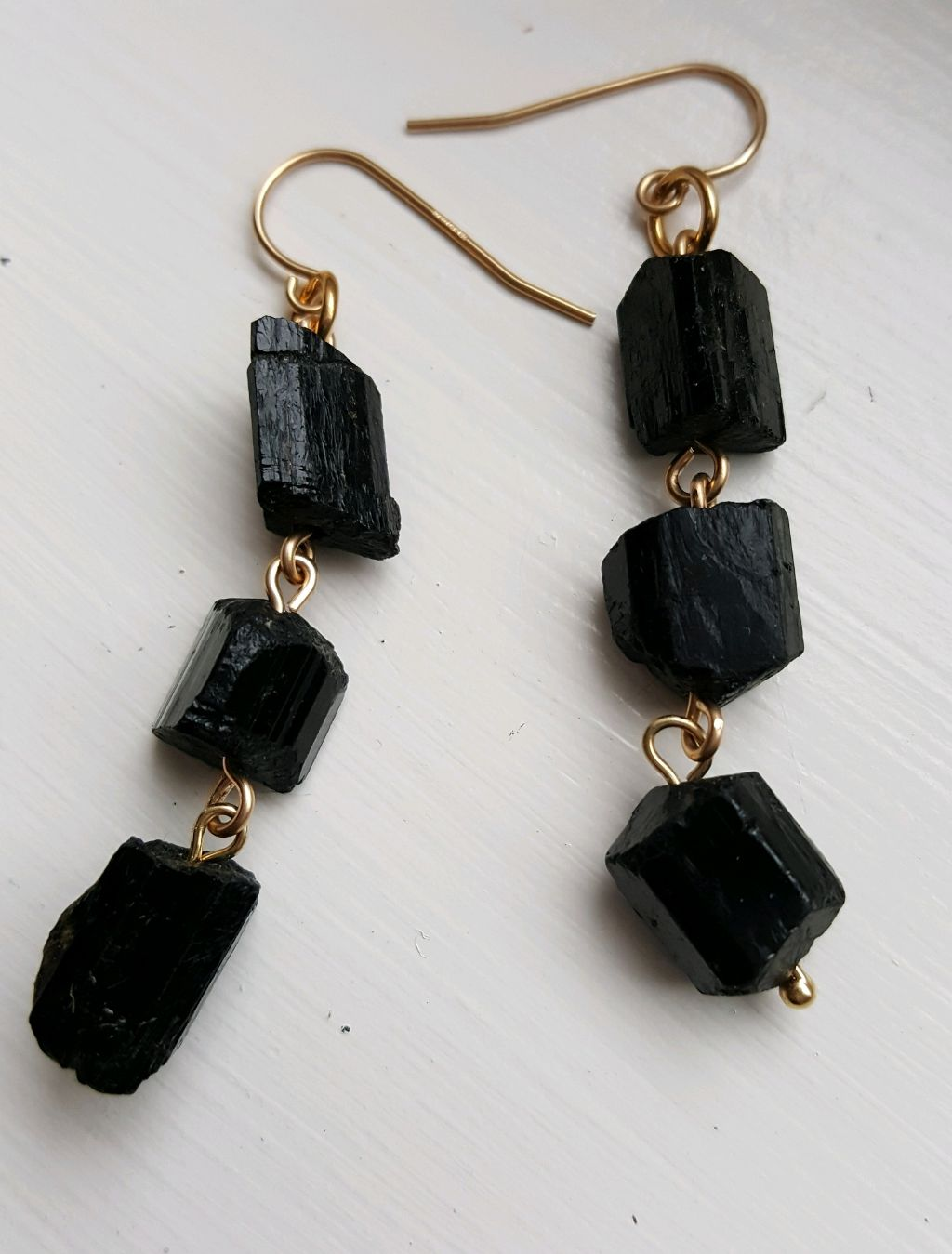 Black Tourmaline chunks, gold filled wire and ear wires, 2.5″