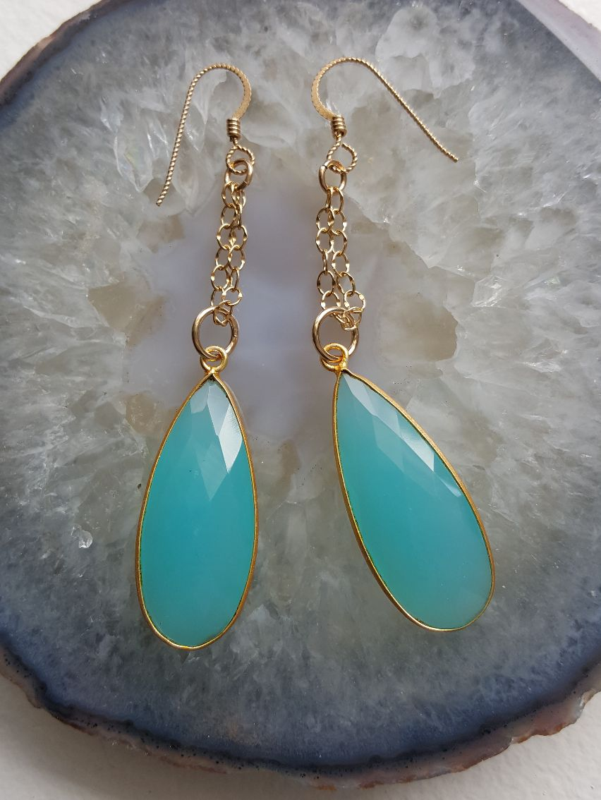 Faceted aqua Chalcedony teardrops on double GF chain and ear wires