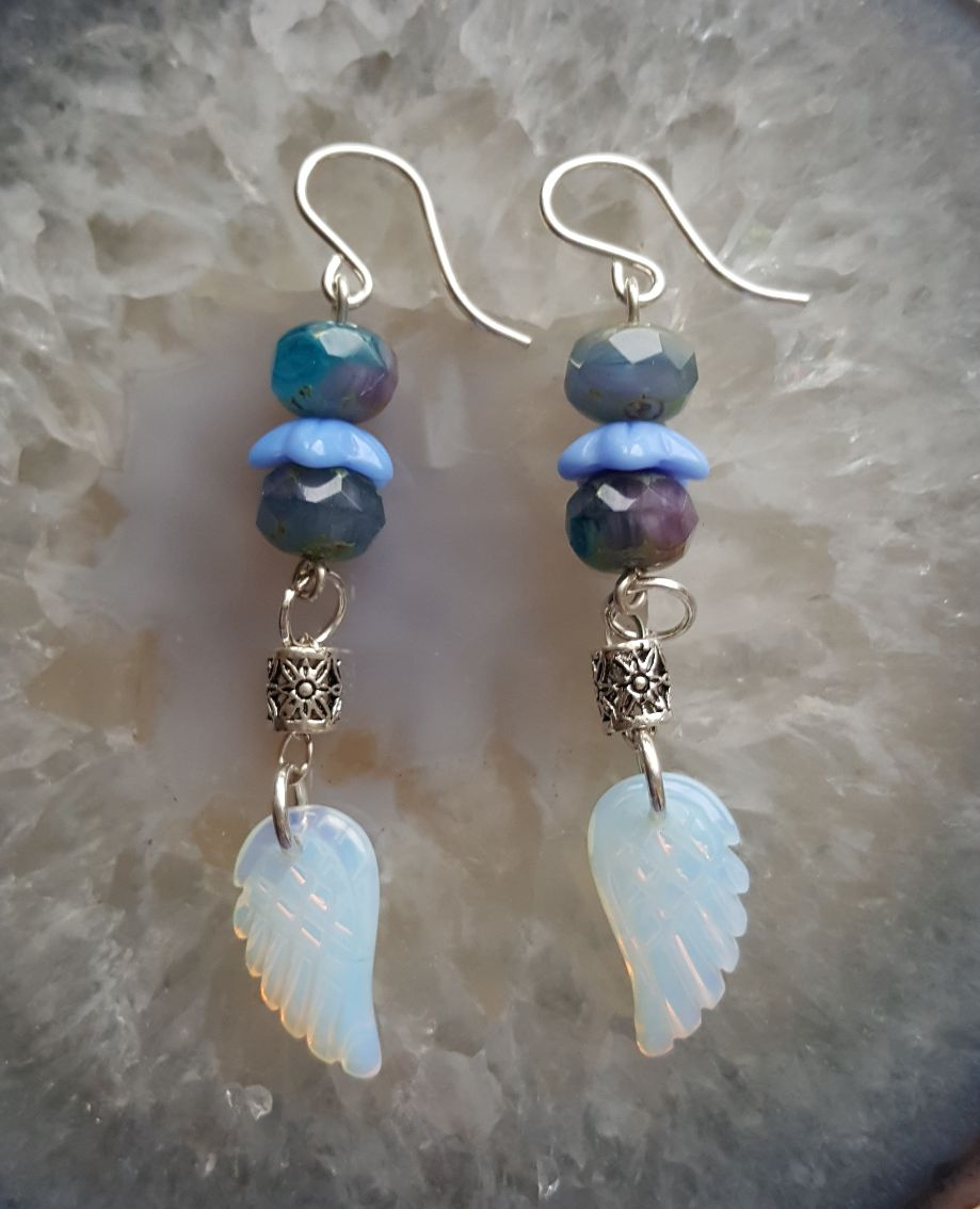 Carved Opalite angel wing dangles, vintage blue-Lavendar beads