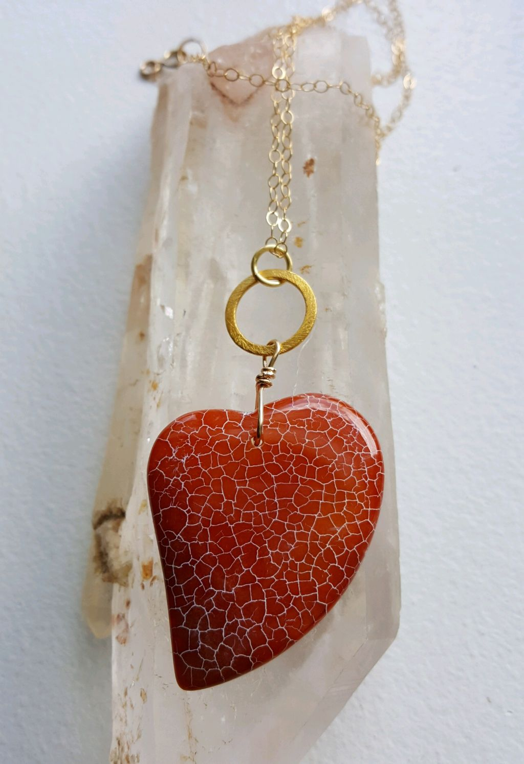 Stunning orange dragon vein Agate heart on gold vermeil disk, gold filled chain
