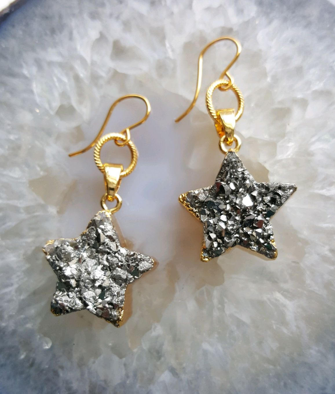 Silver drusy agate Stars, 24K electrolated edges, gold filled ear wires