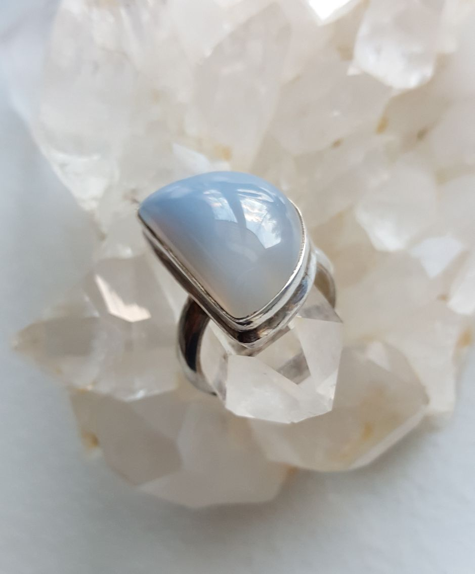 Blue Chalcedony half circle moon in sterling setting, sz. 7 1/2