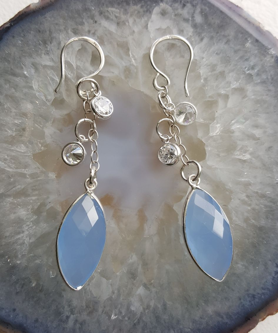 Faceted blue Chalcedony marquis drop, on sterling chain, CZs, ear wires
