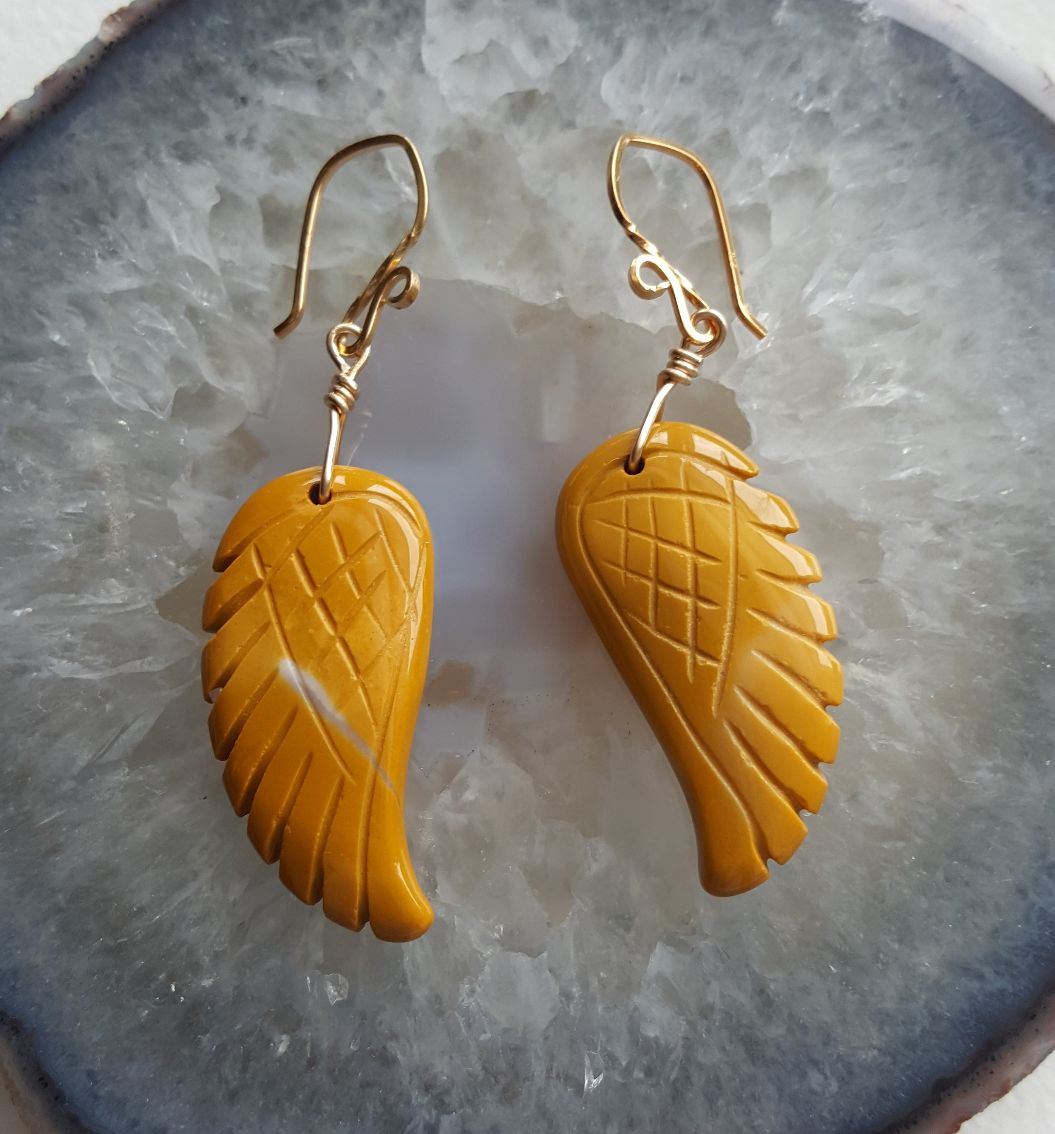 Mustard color Jasper carved Angel Wings