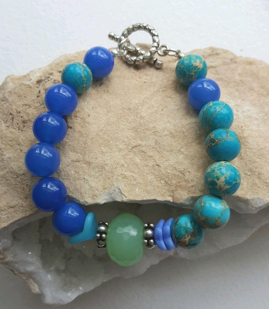Bright deep blue Agate beads, turquoise Sediment Jasper beads, toggle