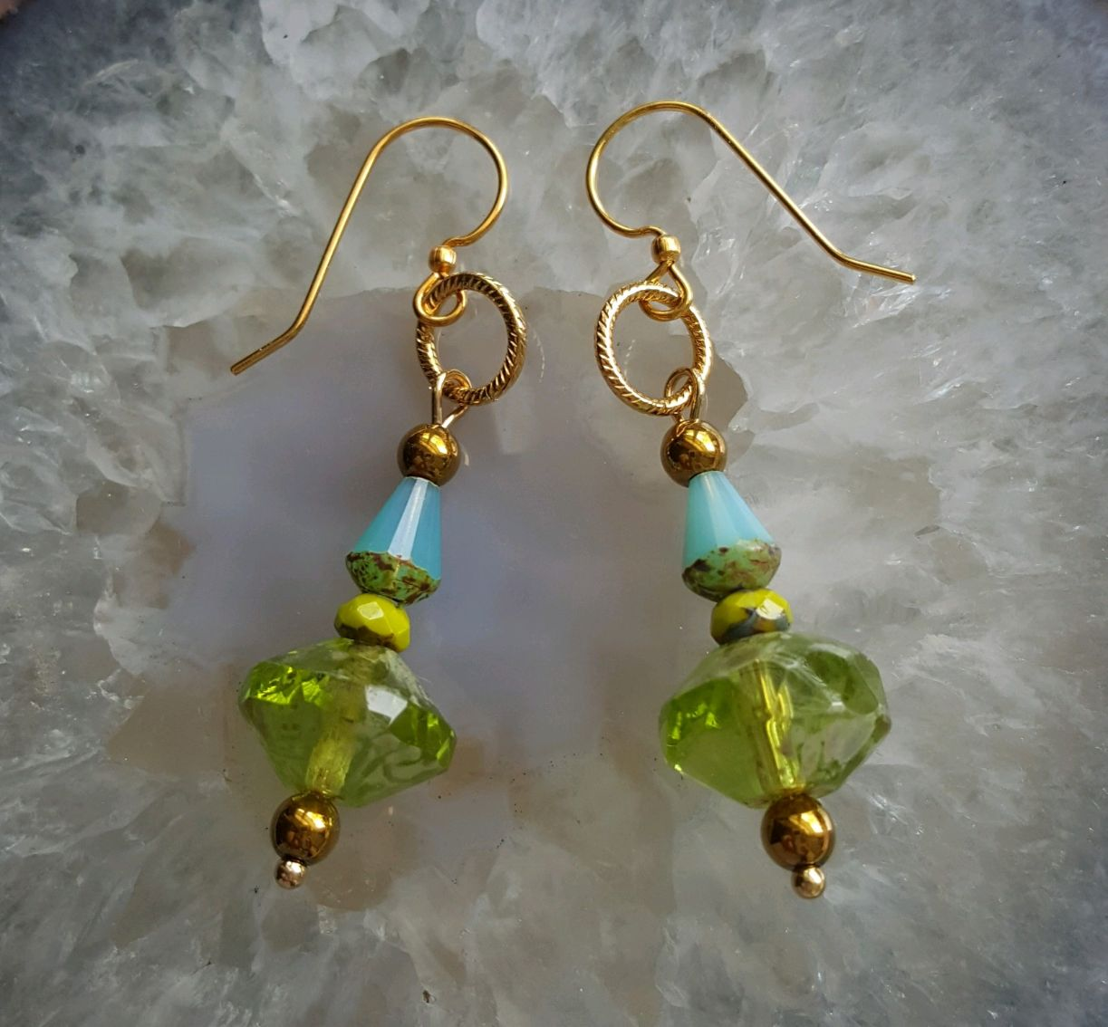 Blues and greens for spring, vintage glass