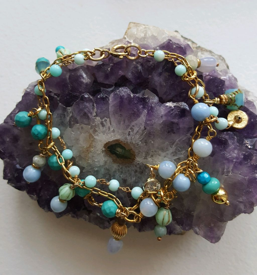 Blue opal, turquoise rosary chains, charms, gold filled chain