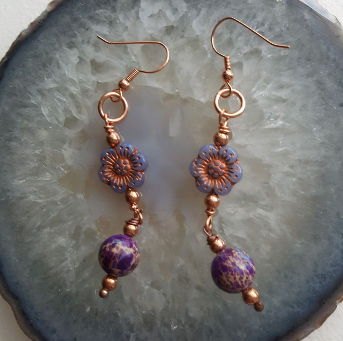 Lavender vintage glass flowers, purple Sediment Jasper beads, copper wires