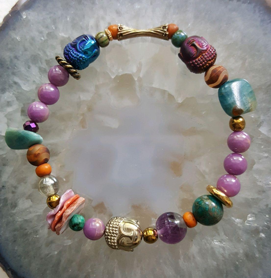 Colorful Hematite Buddhas, Apatite beads, shells, phosphosiderite, elastic