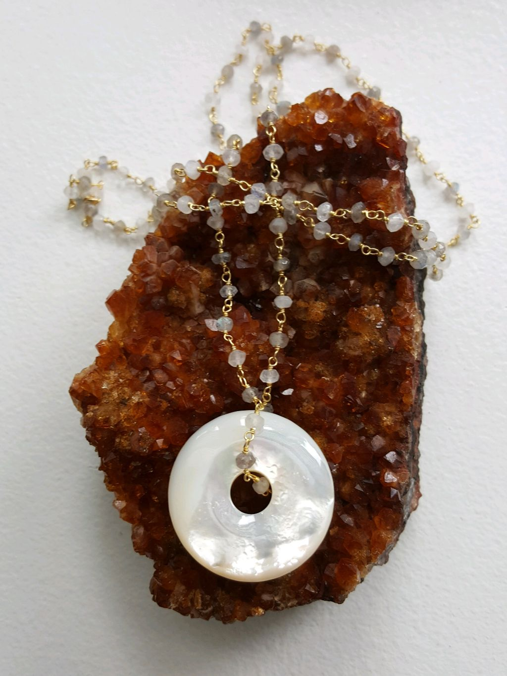 Stunning Mother of Pearl Donut, on labradorite, moonstone rosary chain
