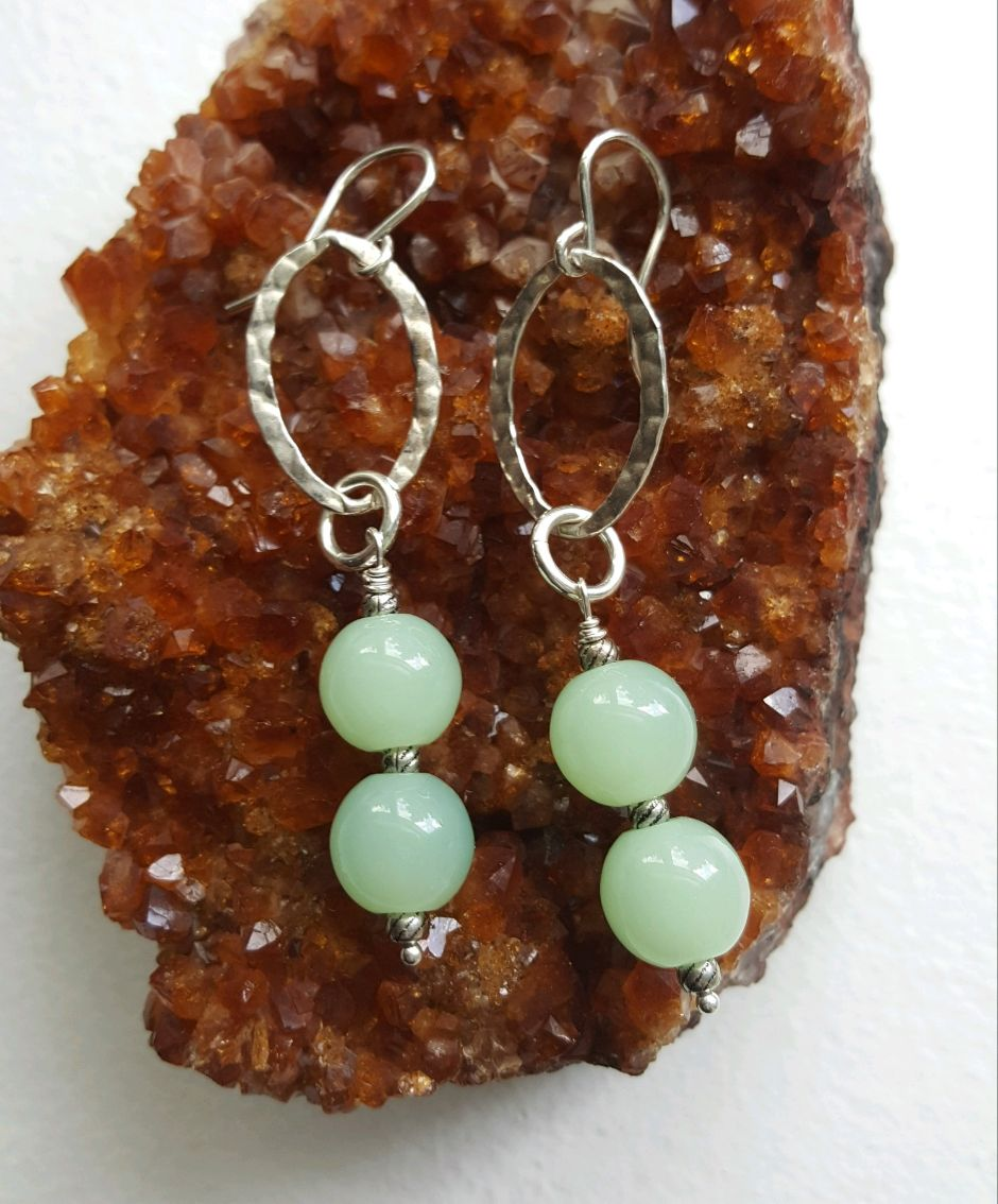 Large green 10 mm double bead earrings, sterling hammered ovals, ear wires