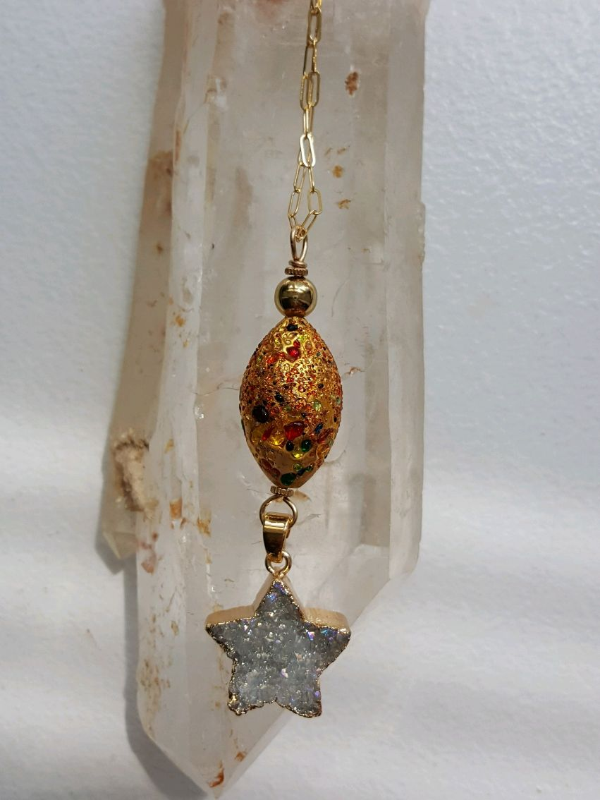 Large gold enameled glass oblong bead, dangling Druzy star on GF chain