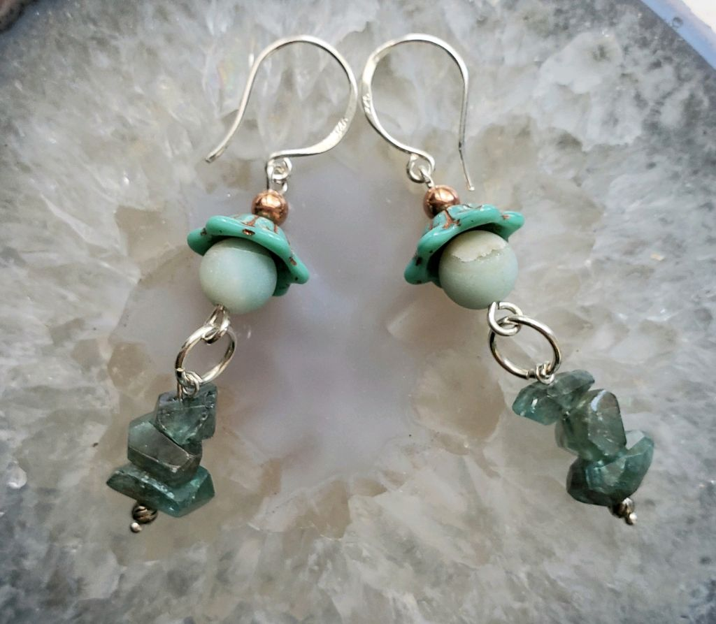 Teal Apetite chip stones, sterling beads, aqua pastel beads, vintage bead caps, copper beads