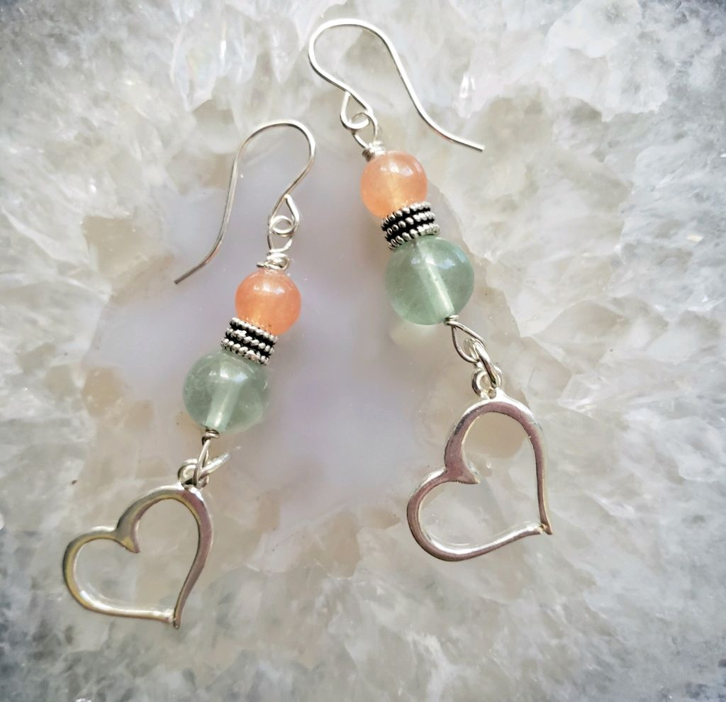Sterling open heart dangle, green Fluorite beads, sterling beads, orange quartz, sterling wires
