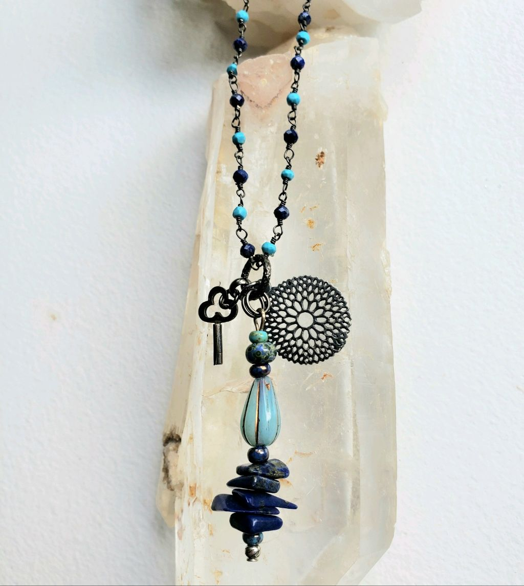 Lapis and turquoise rosary chain, Lapis chip beads pendant, vintage bead, charms
