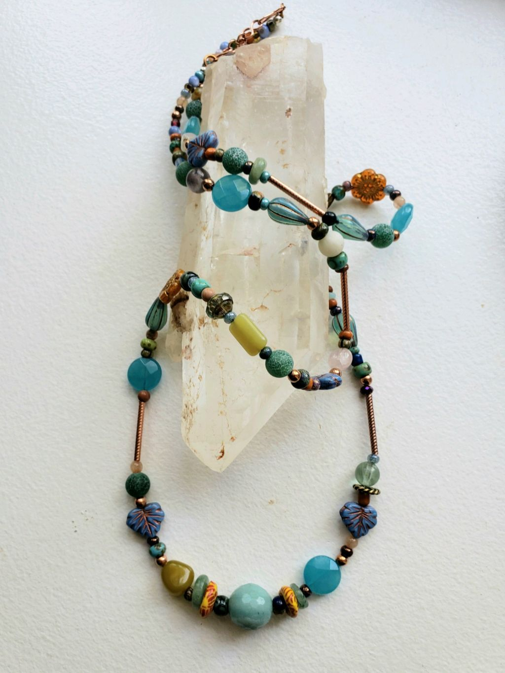 Long, multi-stones, vintage glass, copper tubes and beads