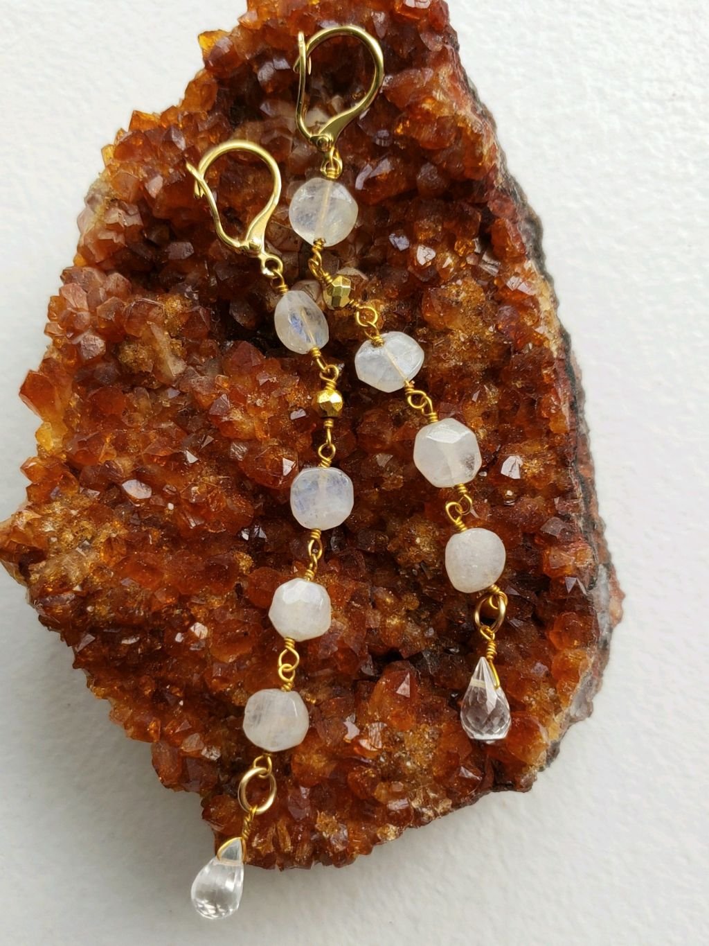 White moonstone rosary chain dangling earrings, crystal teardrop, gold filled levers