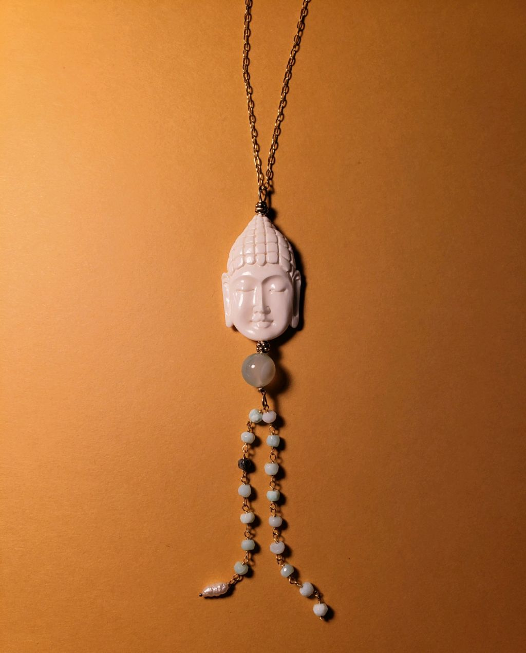 Malasian white bone carved buddha head, front and back, blue opal rosary chain dangle, fw pearl charm, amazonite bead, gold filled chain