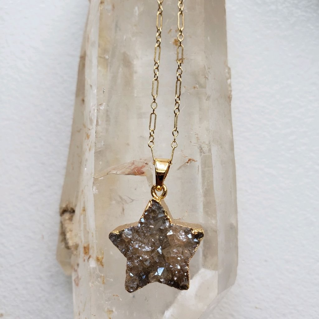 Beige druzy star, 24 K electroplated edges, bail, on gold filled chain