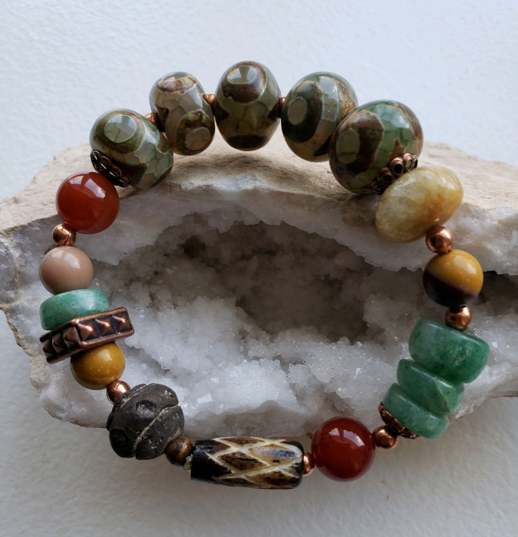 Agate, Aventurine, Carnelian, copper beads, all on elastic