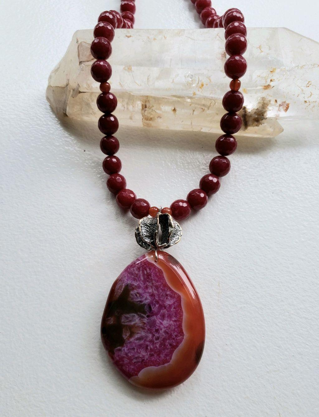 Huge pink-orange Agate pendant on Rubylite jade beads