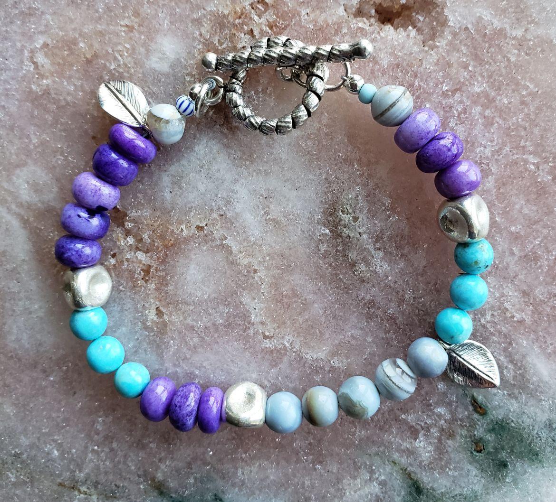 Springtime bracelet! Opals, turquoise, sterling